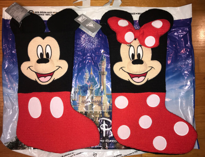 """Disney Parks 2020 Mickey Mouse & Minnie Mouse Christmas Knitted Stocking 19"""" NWT"""