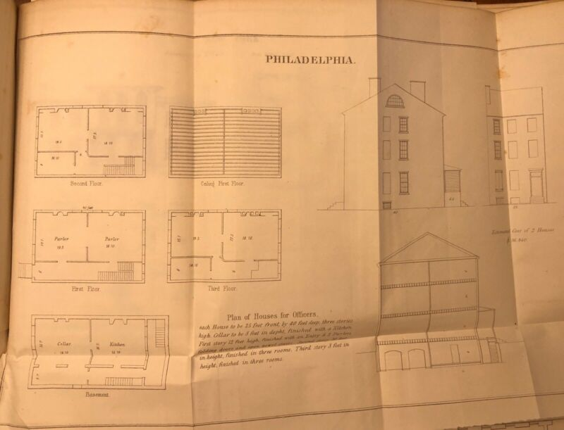 1848 Drawing: US Navy Philadelphia, PA Plan For Houses Of Officers - Antique