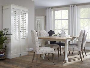 Table cottage de salle a manger en teck et blanc tafel cottage in teak en wit - Tafel salle a manger ontwerp ...