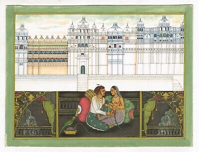 Mughal Emperor Enjoying Hookah And Romance With His Queen Erotic Art & Painting