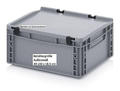 Kunststoff-behälter Mit Deckel (Kunststoff Behälter mit Scharnier-Deckel 40x30x18,5 für Werkzeug, Material Lager)