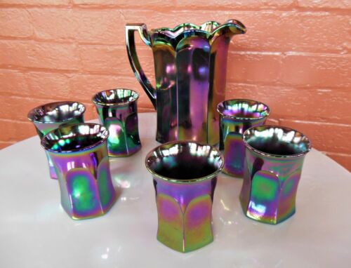 Westmoreland Glass Amethyst Carnival Colonial Pitcher & 6 Tumblers Beverage Set