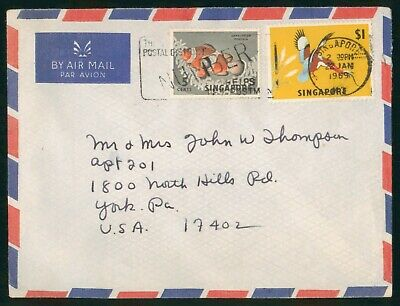 Mayfairstamps Singapore 1969 Birds & Fish Dual Frank to US Cover wwo90215
