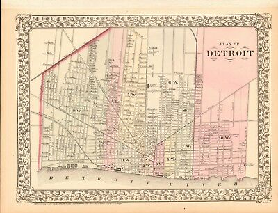 1874 ANTIQUE MAP - USA - PLAN OF DETROIT