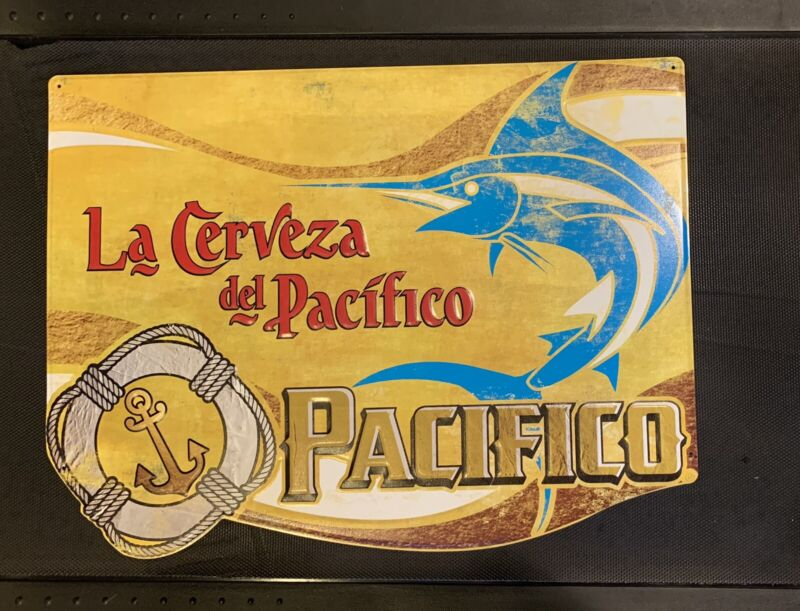 Beautiful NEW PACIFICO CLARA w/ Marlin MEXICAN BEER TIN TACKER SIGN MAN CAVE