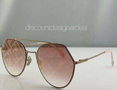 Fendi  FF0194/S Sunglasses OBL0M Gold Frame Graphic Pink Gold FF Logo Lens (Vivid Sunglasses)