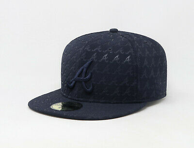 New Era 59Fifty Hat Mens MLB Atlanta Braves Navy Blue D-Boss Print Fitted Cap