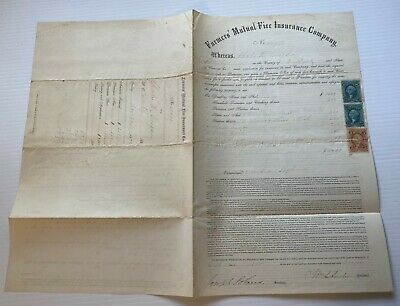 1872 Farmer's Mutual life insurance Company Policy & Revenue Stamps / Vermont