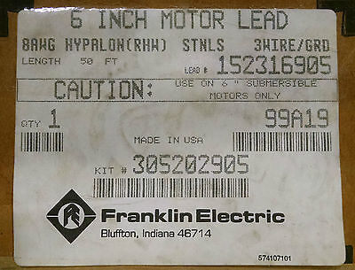 Franklin Electric 6 Motor Leads 50Ft 3 Wire Submersible 305202905  152316905