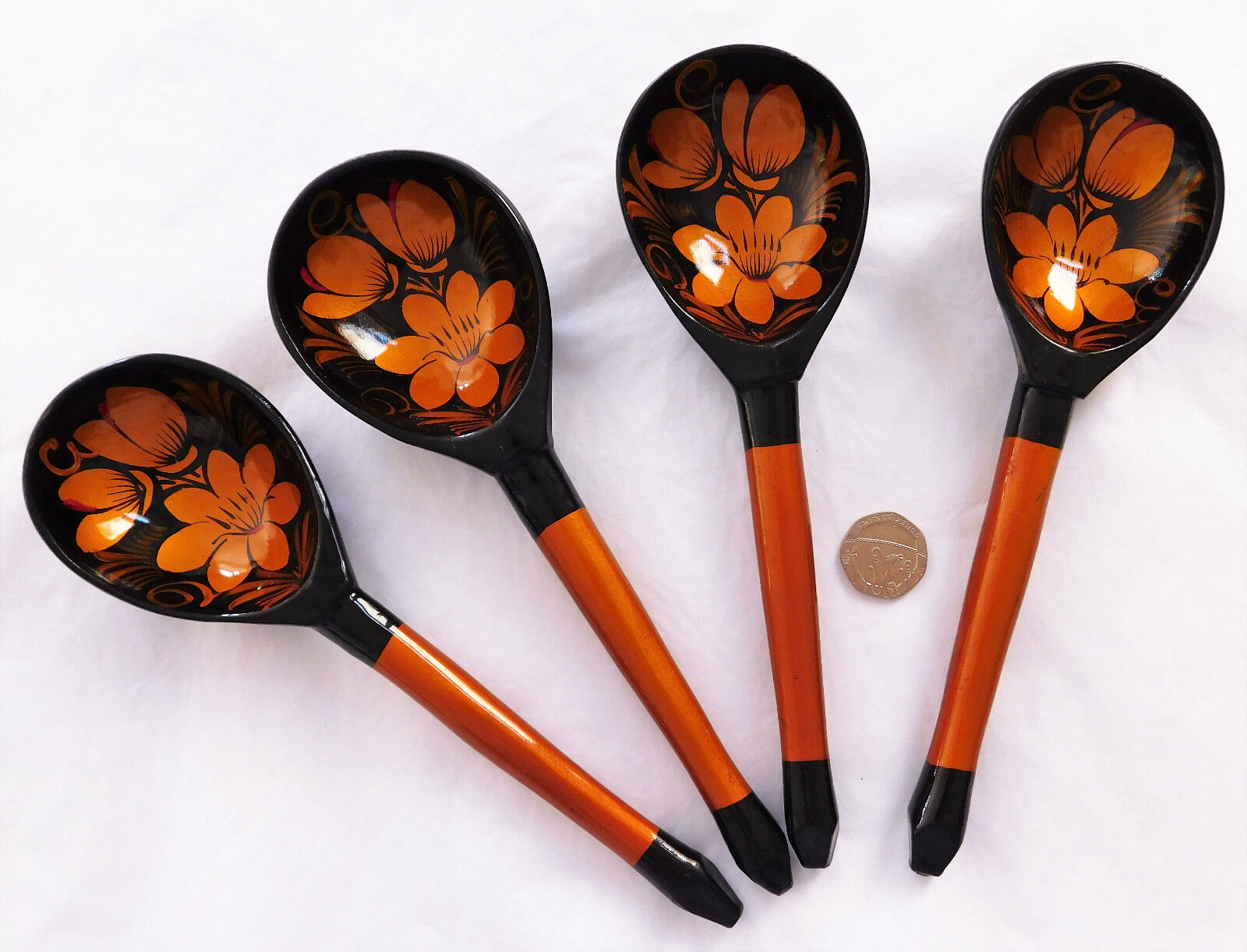 """Set of 4 khokhloma spoons Traditional Russian cutlery lacquer work folk art 8"""""""