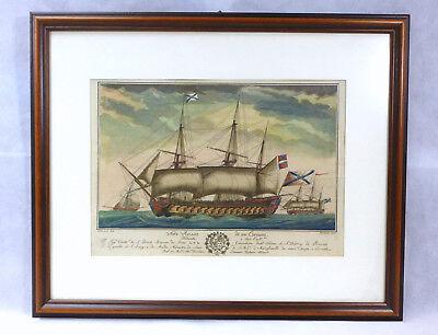 XL Bild / kolorierter Stich Italien XIX Jh. Nave Russa Russische Flotte Maritim