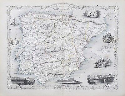 c1854 SPAIN & PORTUGAL Genuine Antique Map by Rapkin FREE SHIPPING WORLDWIDE