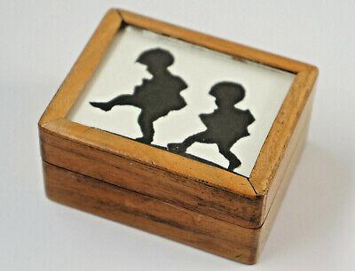 Old Briefmarken-Kästchen from Wood, With Schattenbild. Behind Glass. (D3)