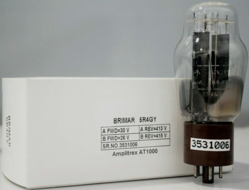 """5R4GY Brimar Bottom Dual """"O"""" Getter Made in England Amplitrex Tested#3531006"""