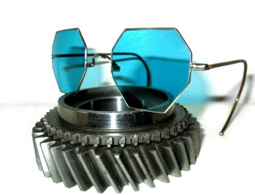 Antique Willson Octagon Aqua Blue Sunglasses Vtg Cool Steampunk Spectacles RARE
