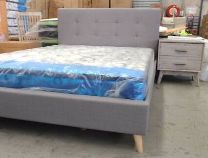 NEW BOXED KING grey or charcoal fabric upholstered bed 4 drawers