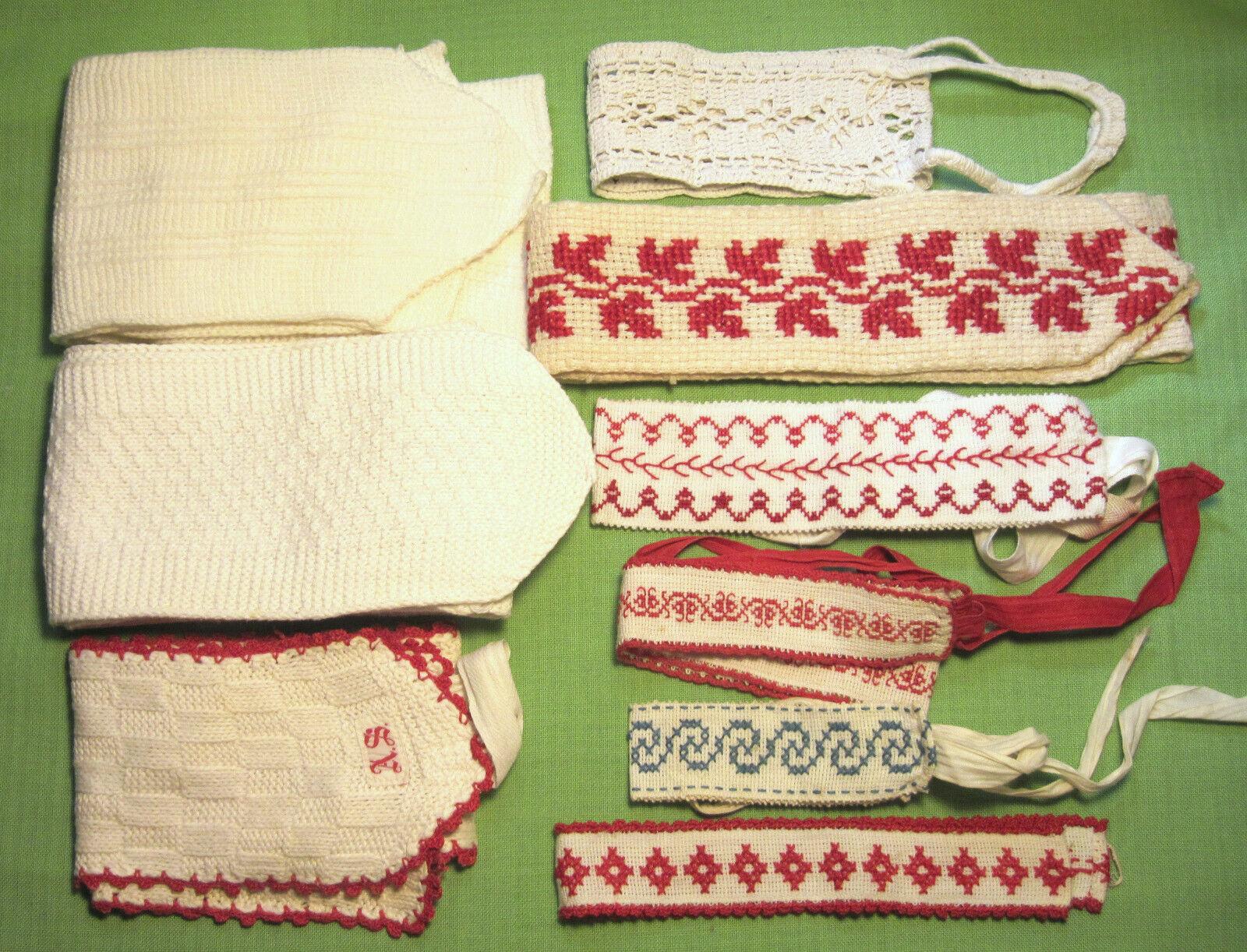 antike Wäschebänder in versch. Ausführungen - Handarbeit - 9 Teile/ 2