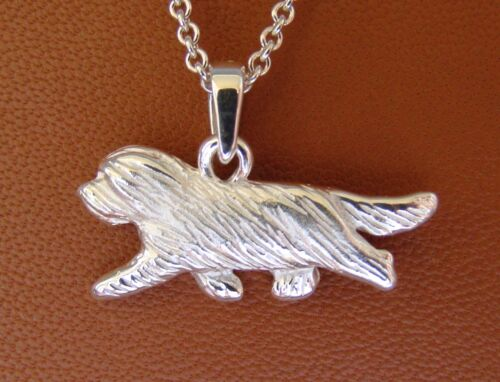Small Sterling Silver Bearded Collie Moving Study Pendant