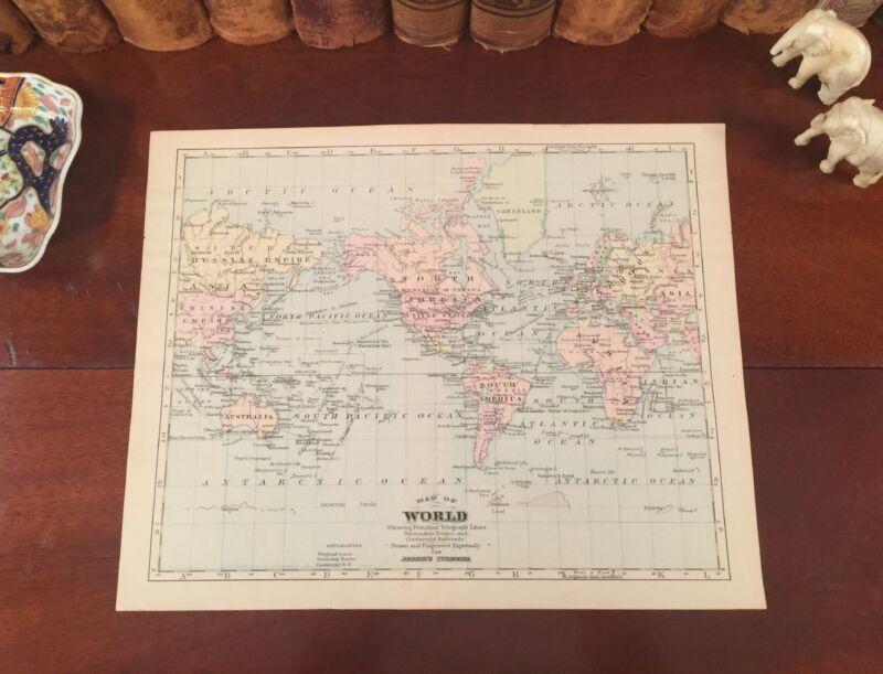 Fine Original 1886 Antique Map THE WORLD Shows Steamship Routes Telegraph Lines