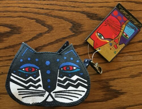 NWT Laurel Burch Cat Face Dimensional Canvas Small Coin Bag/Purse Black