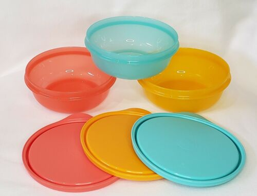 Tupperware Buddy Bowls Snack Berry Bowls Set of 3 1.25 Cup 300 mL  NEW