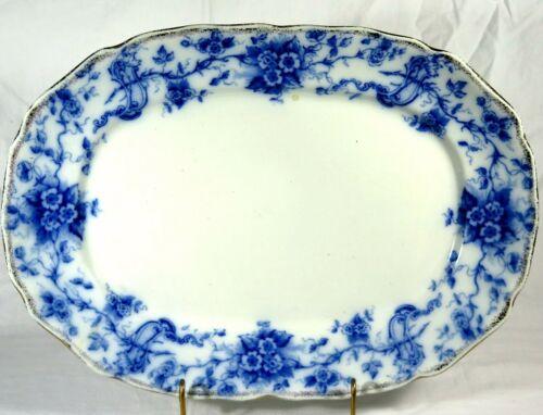 """Flow Blue 16"""" Oval Serving Platter Cliff England Lucerne John Dimmock c.1890s"""