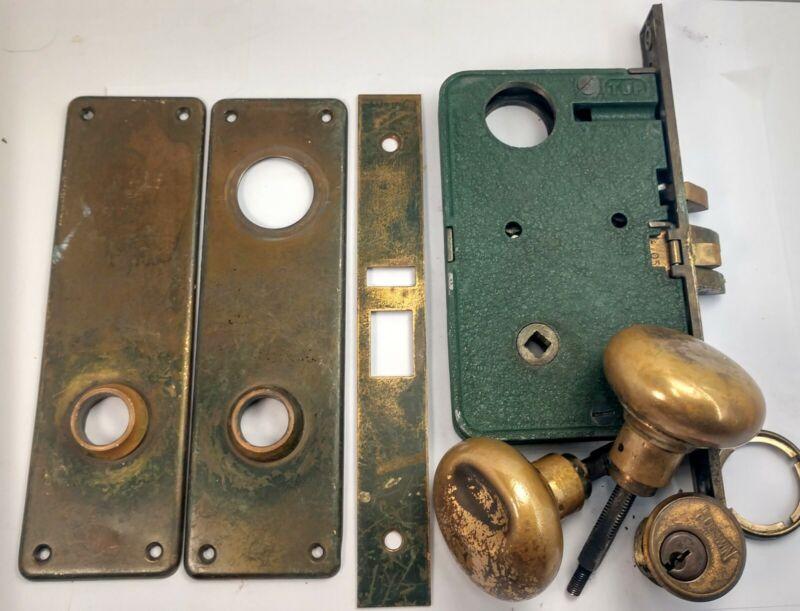 Vintage SET Corbin Russwin Knob Entry Mortise Lock  Body Brass Locksmith 1960s