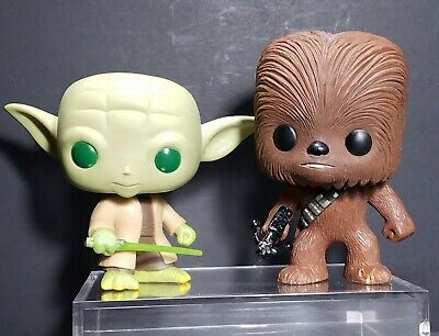Funko Pop Star Wars Bobble Head Lot Yoda #02 Green Eyes & Chewbacca #06 Loose