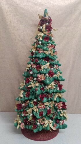 Vintage Holland 43 Inch Tall Ceramic Christmas Tree Fully Decorated and Lit