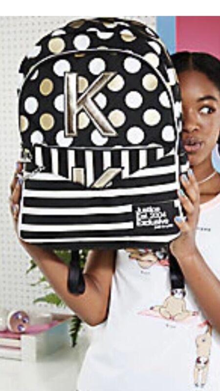 Justice Black Stripe& Dot Initial Backpack& Wrislet NWT