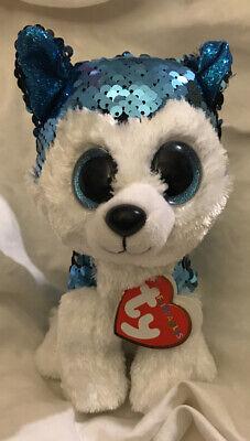 New Slush Sequin TY Dog Beanie Babies Flippables Plush stuffed animal 6