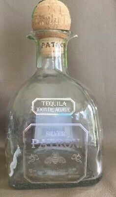 Patron Silver Tequila 100% De Agave 375 empty bottle with cork FREE SHIPPING!