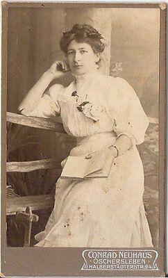 CDV photo Feiner Dame mit Widmung - Oschersleben 1904