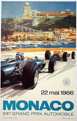 Classic Poster Monaco Reproduction Motorsport Print Grand Prix Formula 1 1966 A3