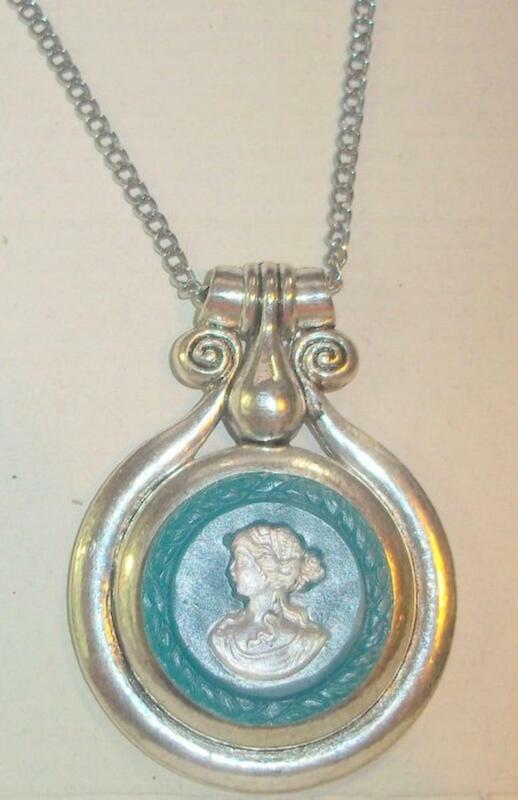 Silvertone and Composition Cameo Pendant Necklace
