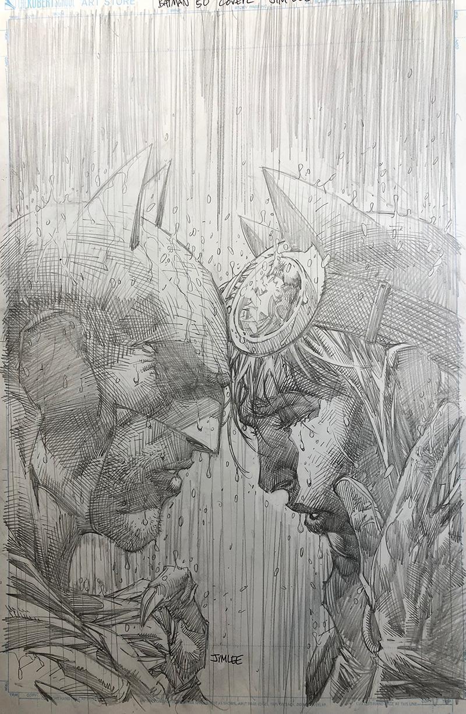 (2018) BATMAN #50 JIM LEE 1:100 SKETCH VARIANT COVER! Tom King! Wedding!
