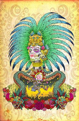 Day of the dead art, aztec maya pre columbian sugar skull art, signed by