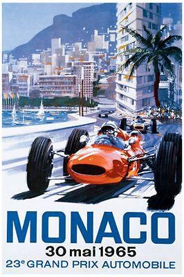 Classic Poster Monaco Reproduction Motorsport Print Grand Prix Formula 1 1965 A2