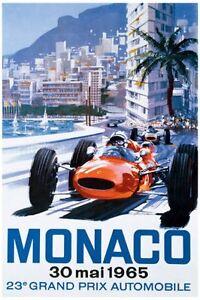 Poster-Classico-Monaco-Riproduzione-Motorsport-Stampa-Grand-Prix-Formula-1-1965