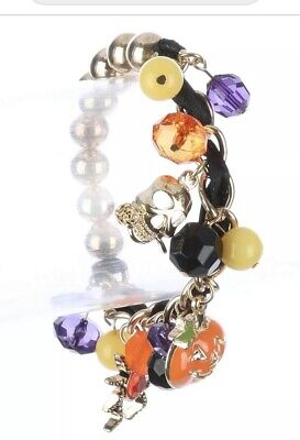 HAPPY HALLOWEEN PUMPKIN SPIDER SKULL DANGLE CHARM BEAD STRETCH BRACELET](Spider Halloween Pumpkin)