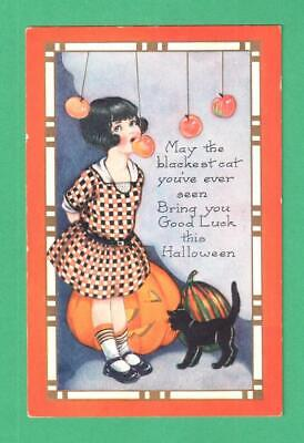 1925 WHITNEY HALLOWEEN POSTCARD GIRL APPLES ON STRINGS BLACK CAT JOL GOURD