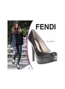 44fa3ba5ac9 Fendi Fendista Platform LOGO FF Black Pump Shoes Seen on celebs Sz 36.5EUR  5.5US
