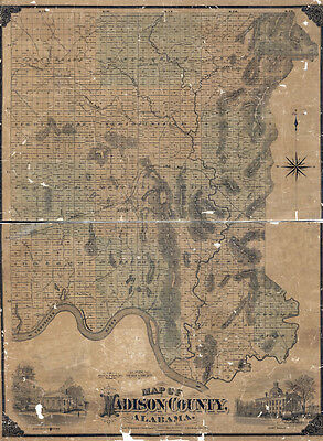 1875 Map of Madison County Alabama Huntsville