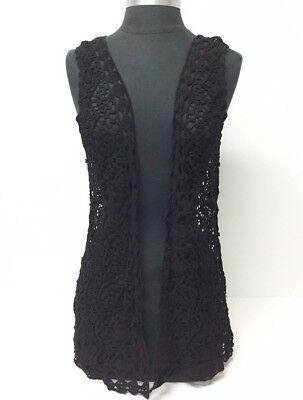 New Fashion Women Crochet Lace open front Vest Summer Cover-Up Top Blouse, Black