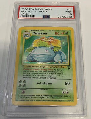 PSA 9 MINT VENUSAUR HOLO Pokemon Base Set 2 18/130