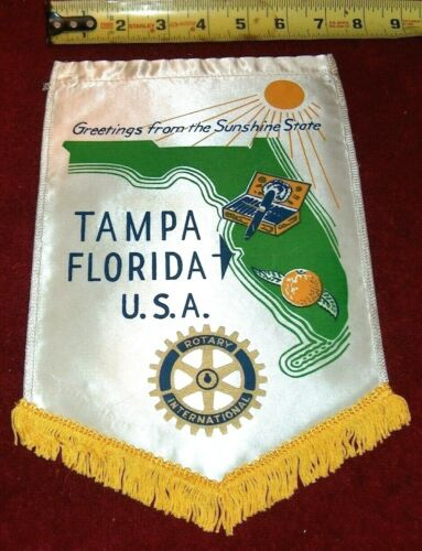 VINTAGE Rotary International Club wall banner flag      TAMPA    FLORIDA