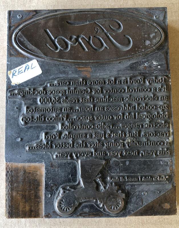 Vintage Mid Century Ford Letterpress Printing Block (box 36)