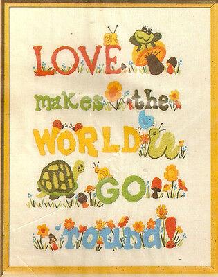 Vintage Bucilla love Crewel Embroidery On Linen Sampler Kit