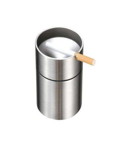Stainless Steel Car Ashtray Automatically Extinguished Cigarette Smokeles Holder