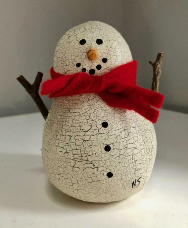 NATALIE SILITCH Crackle Canvas Christmas Snowman with Red Scarf